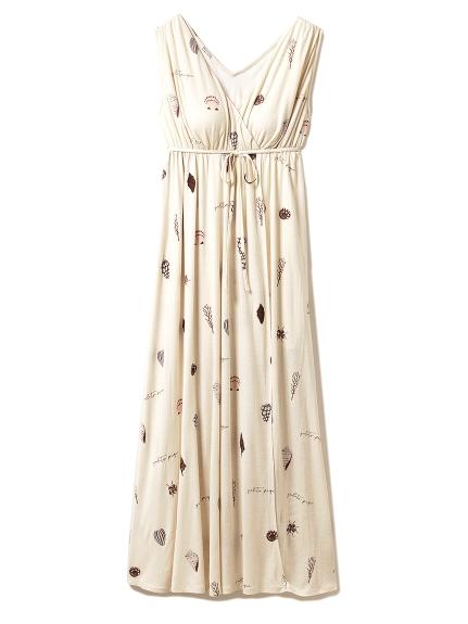 シェルモチーフロングドレス(BEG-F)