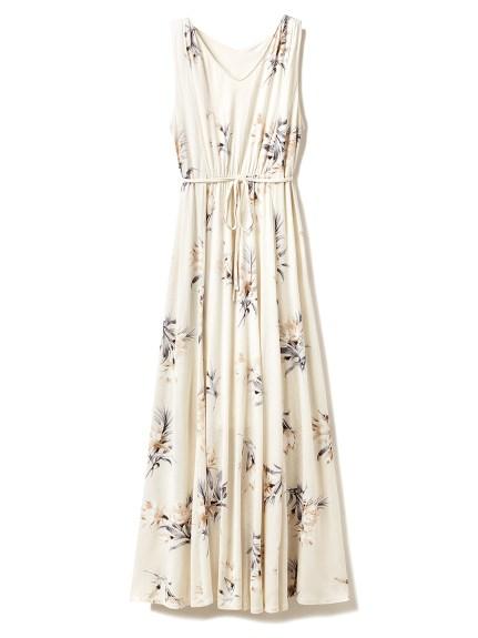 ビッグフラワーノースリーブロングドレス