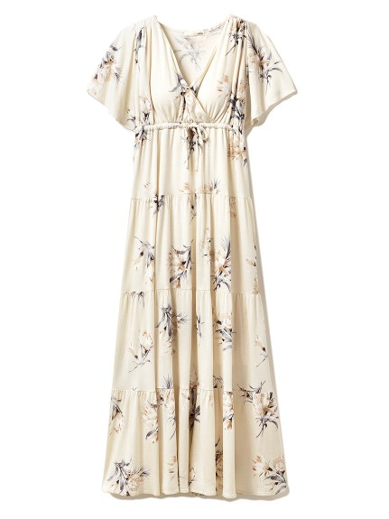 ビッグフラワーロングドレス(BEG-F)