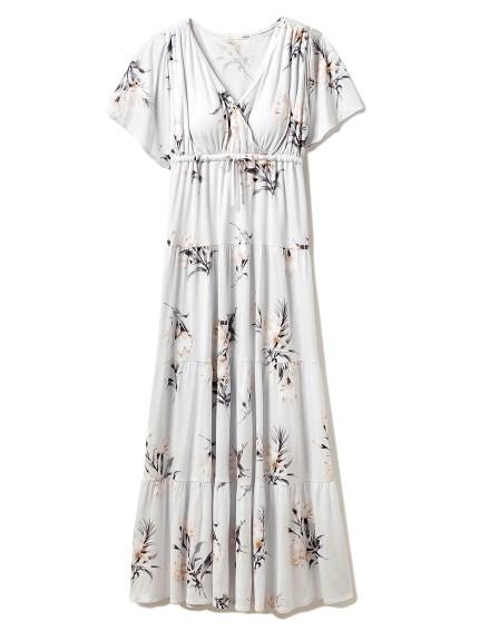 ビッグフラワーロングドレス(BLU-F)