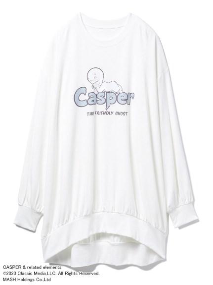 【CASPER】ワンポイントBIGスリーブドレス(OWHT-F)