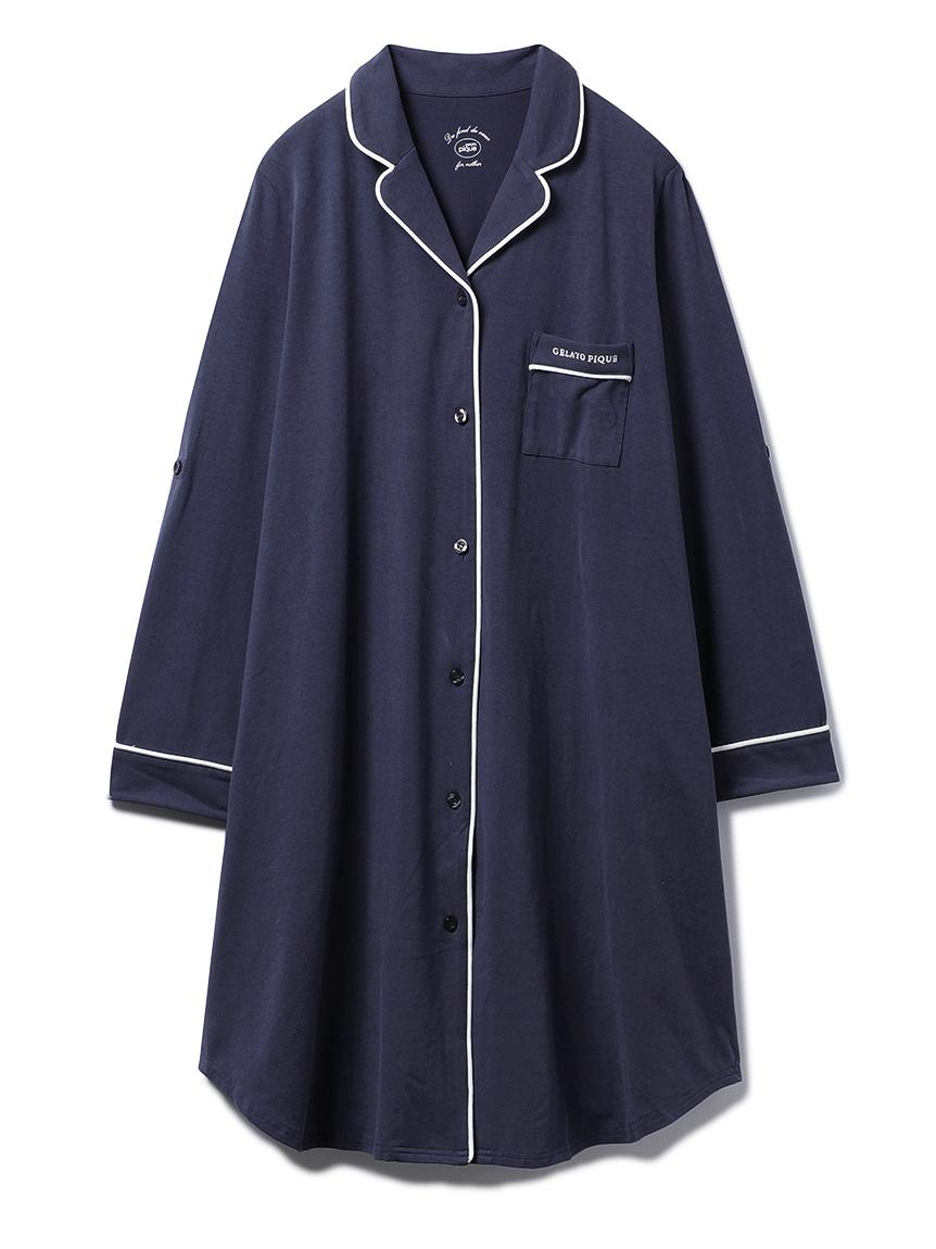 【ONLINE限定】マタニティシャツドレス(NVY-F)