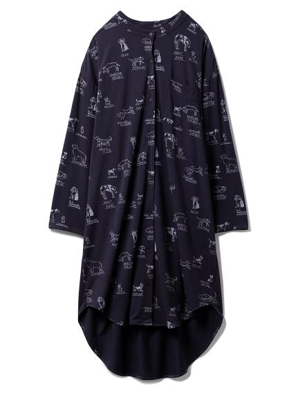 DOGモチーフシャツドレス(NVY-F)