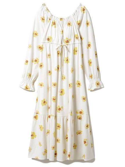 ペイントフラワーロングスリーブドレス