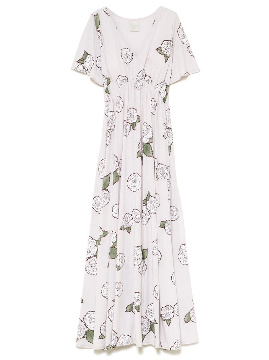 【オフィシャルオンラインストア限定】【ミュシャと椿姫】椿柄ドレス(LAV-F)