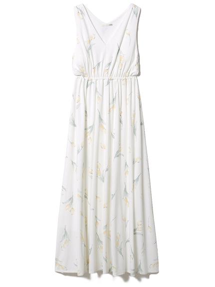 リップフラワーモチーフノースリーブドレス