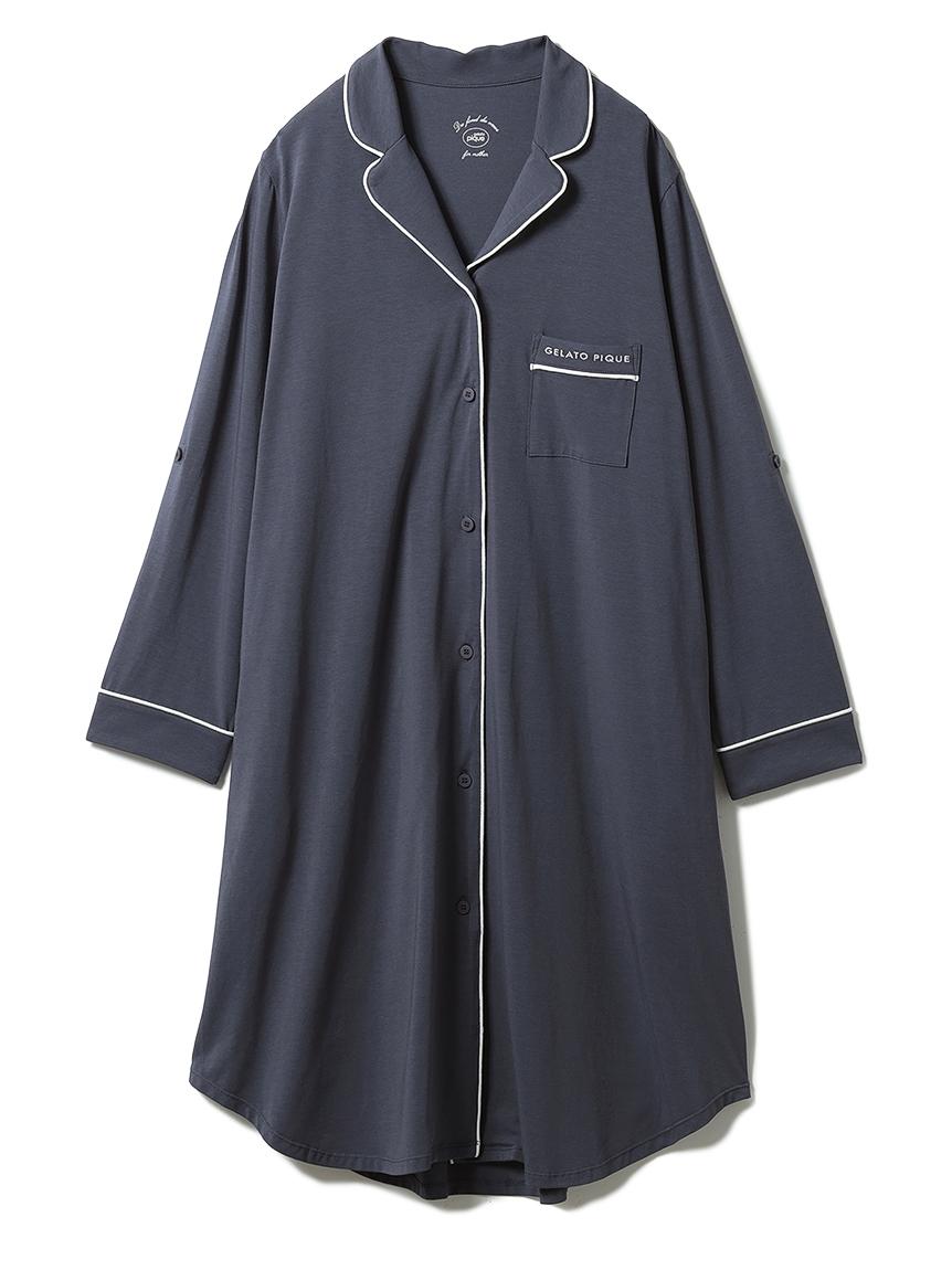 マタニティパイピングシャツドレス