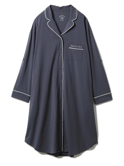 マタニティパイピングシャツドレス(NVY-F)