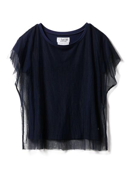 【Chacott】チュールコンビTシャツ(NVY-F)