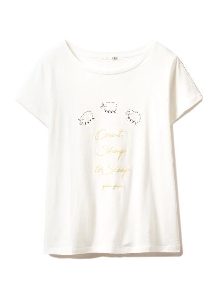 sleeping モチーフTシャツ(YEL-F)