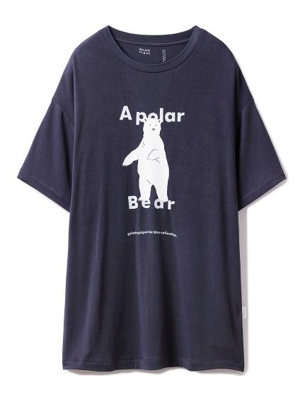 【シロクマフェア】シロクマワンポイント冷感Tシャツ(NVY-F)