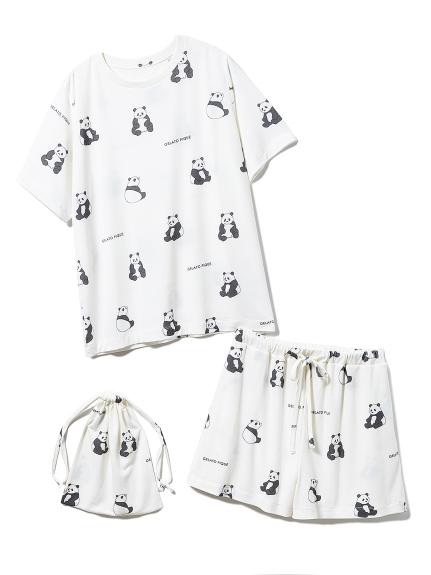 【ONLINE 限定】パンダTシャツ&ショートパンツ&巾着SET(OWHT-F)