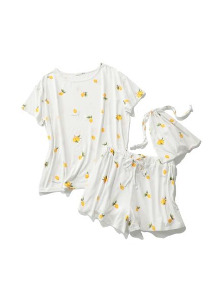 【ONLINE限定】フルーツモチーフTシャツ&ショートパンツ&巾着SET(YEL-F)
