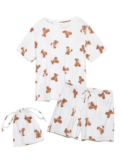 【ONLINE限定】ベアモチーフ抗菌防臭Tシャツ&ショートパンツ&巾着SET(OWHT-F)