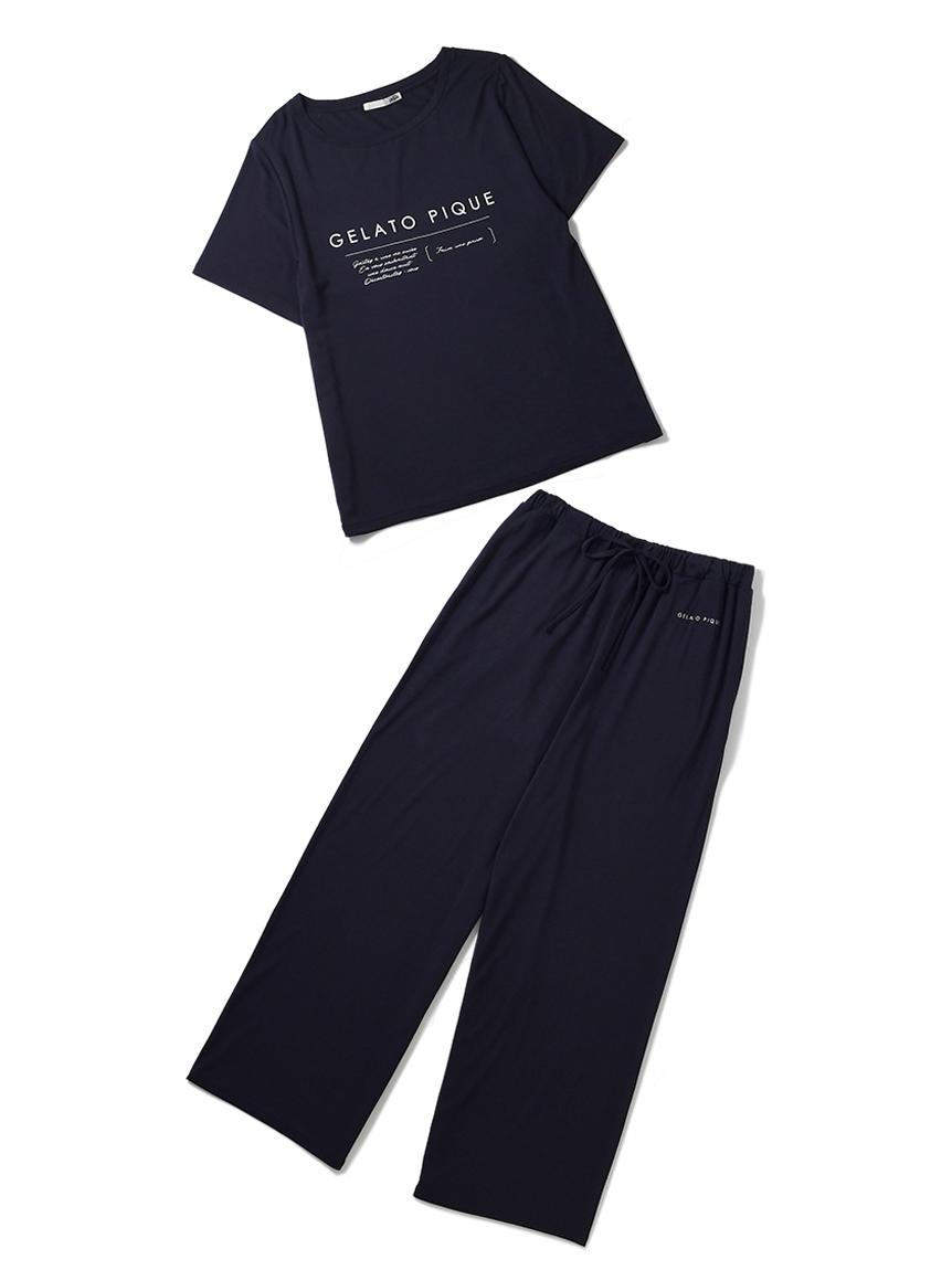 【ラッピング】レーヨンロゴTシャツ&ロングパンツ(GRY-F)