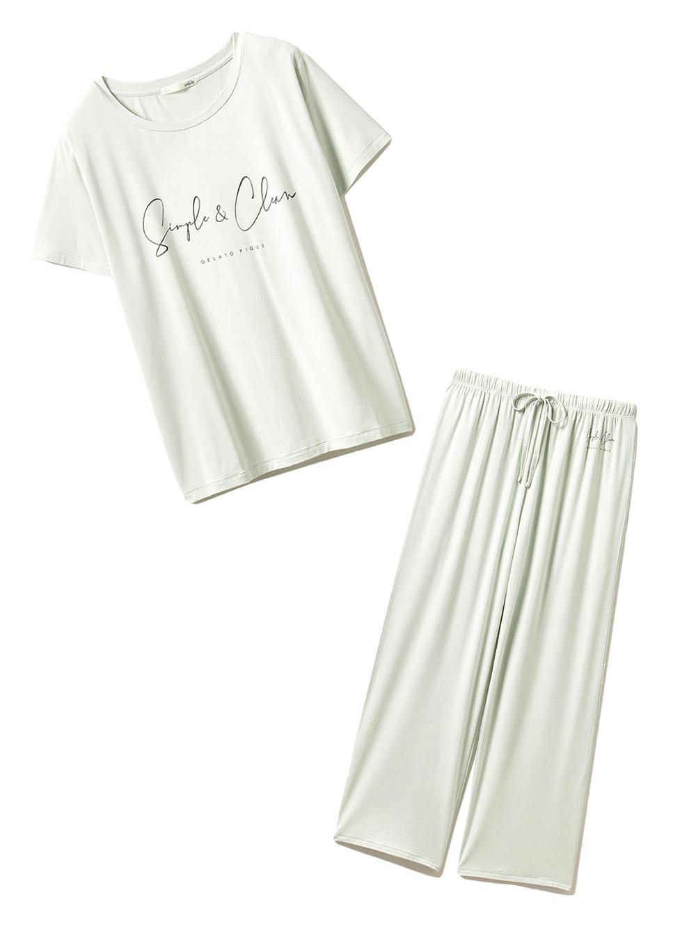 【ラッピング】SIMPLEレーヨンロゴTシャツ&ロングパンツ(GRN-F)