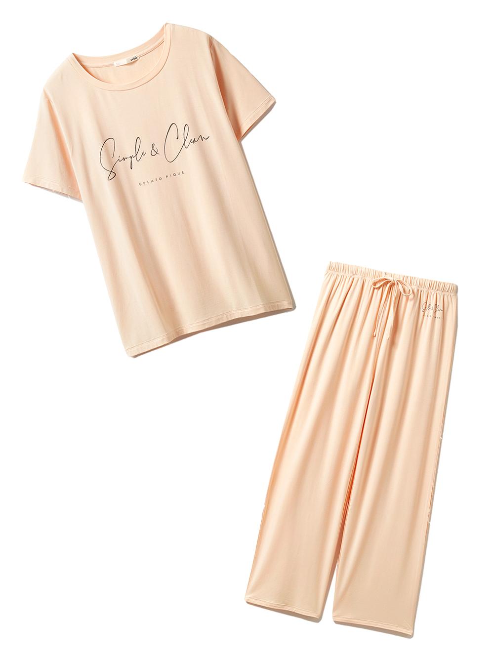 【ラッピング】SIMPLEレーヨンロゴTシャツ&ロングパンツ(ORG-F)