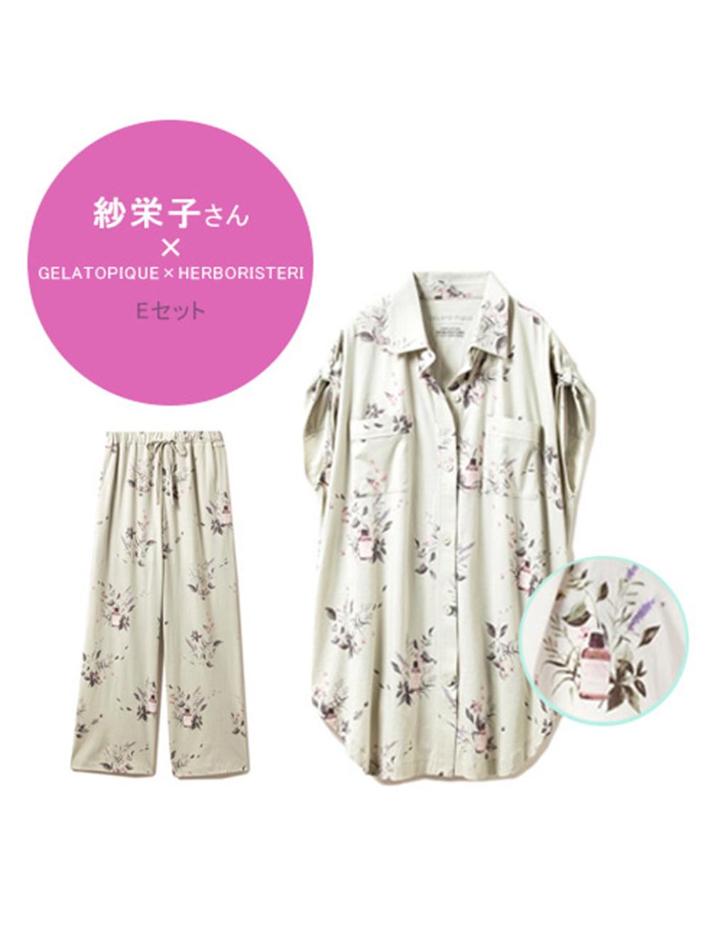 (E)HAPPY OILモチーフシャツ&ロングパンツセット