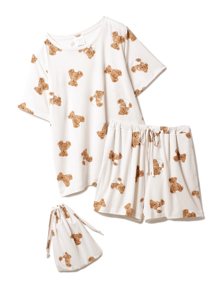 【ONLINE限定】ベアモチーフ抗菌防臭Tシャツ&ショートパンツ&巾着SET