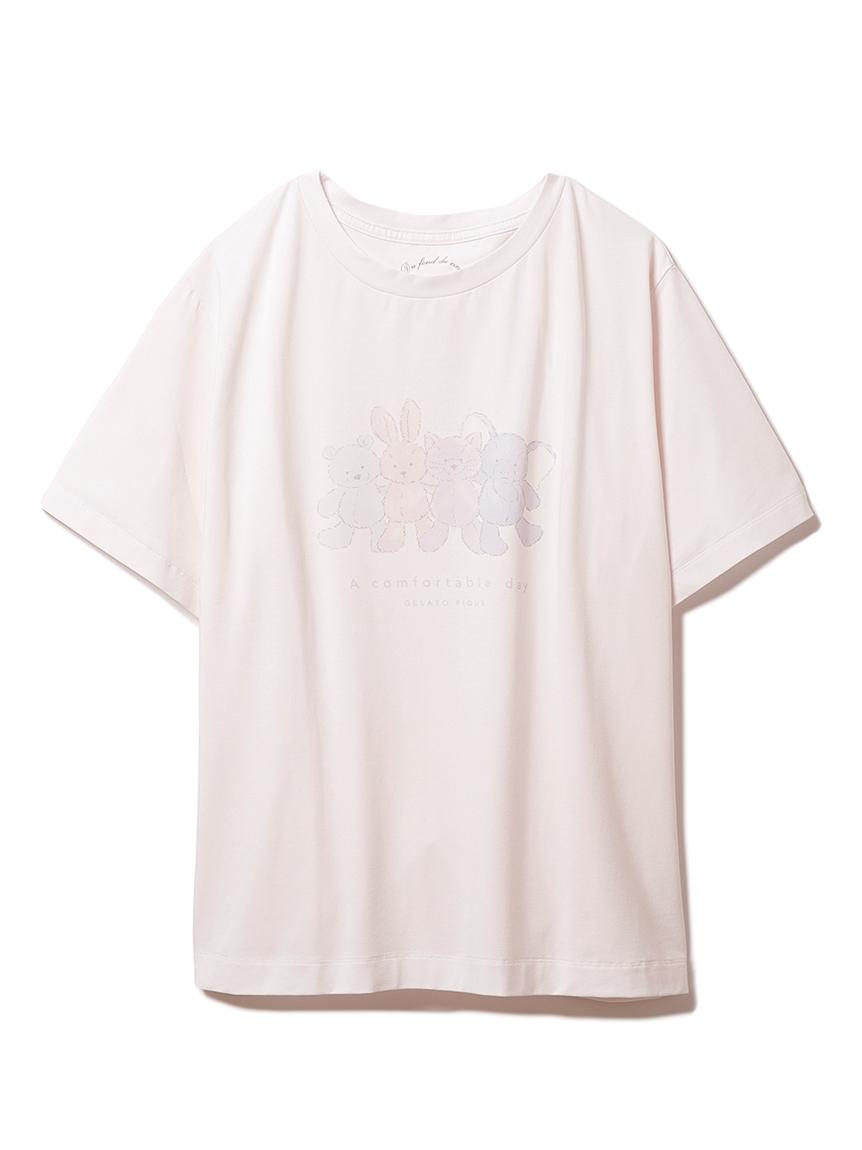 ぬいぐるみワンポイントTシャツ(PNK-F)