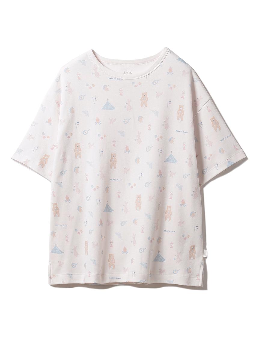 アニマルキャンプモチーフTシャツ(PNK-F)
