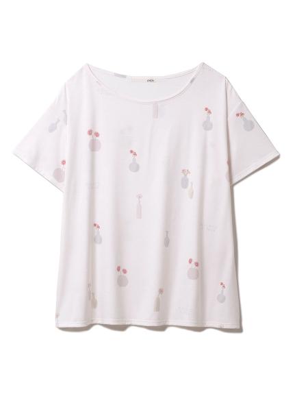 フラワーベースモチーフTシャツ(PNK-F)