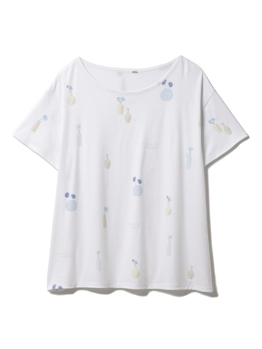 フラワーベースモチーフTシャツ(BLU-F)