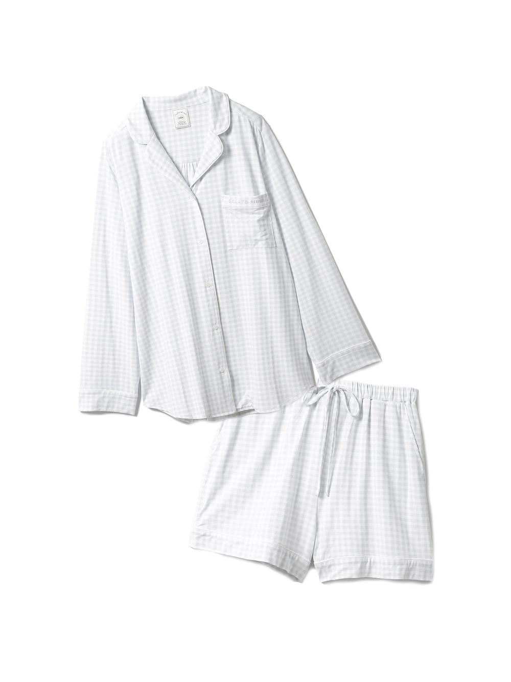 【ラッピング】ギンガムモダールシャツ&ショートパンツSET(BLU-F)