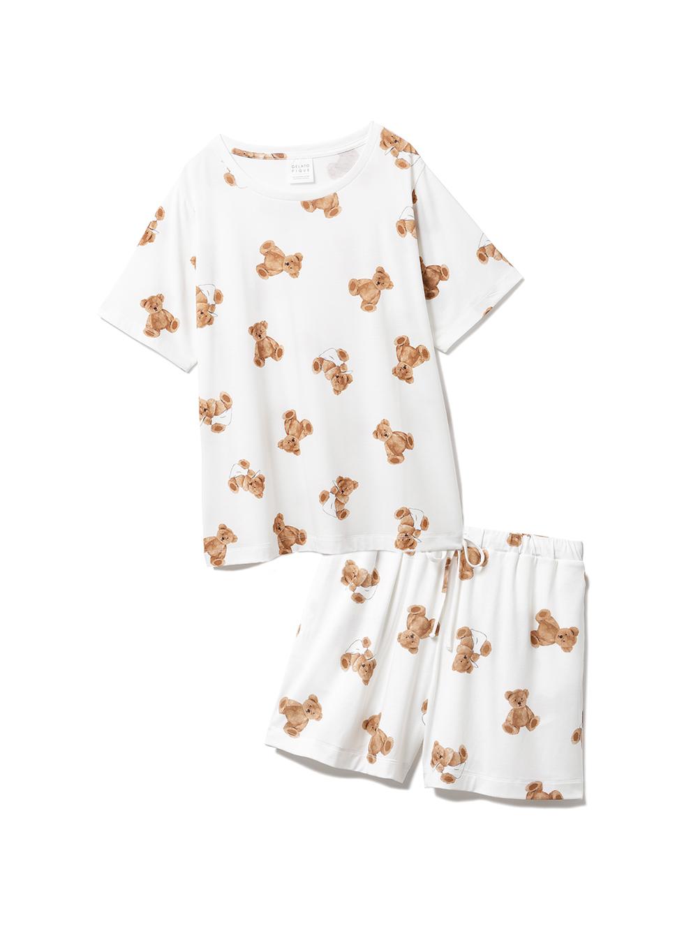 【ラッピング】ベア柄抗菌防臭Tシャツ&ショートパンツSET