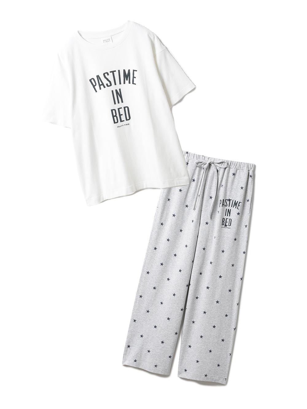 【ラッピング】ロゴスター柄ワンポイントTシャツ&ロングパンツSET(OWHT-F)