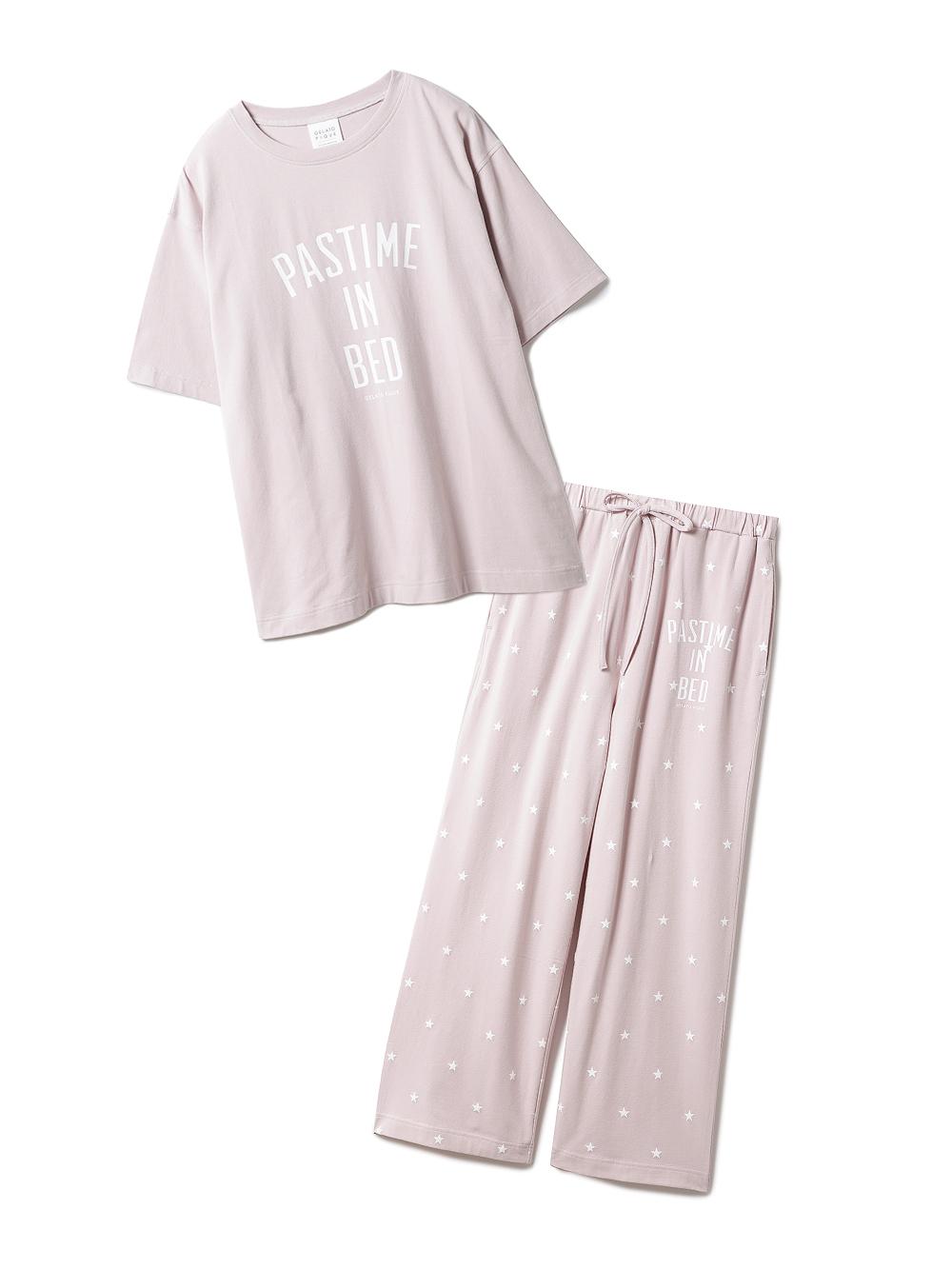【ラッピング】ロゴスター柄ワンポイントTシャツ&ロングパンツSET(PNK-F)