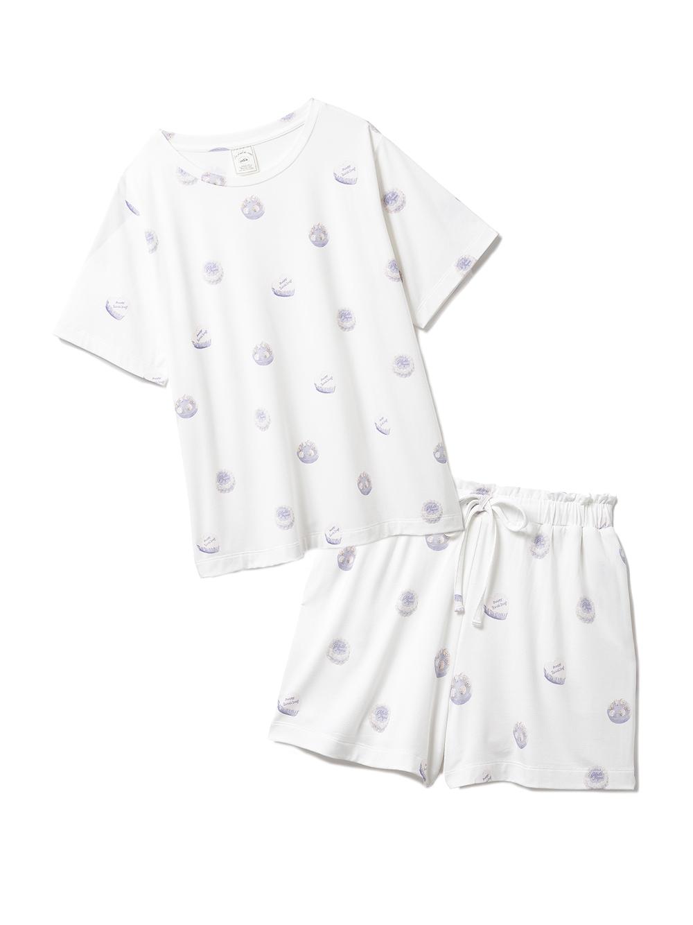 【ラッピング】ホールケーキ柄Tシャツ&ショートパンツSET(BLU-F)