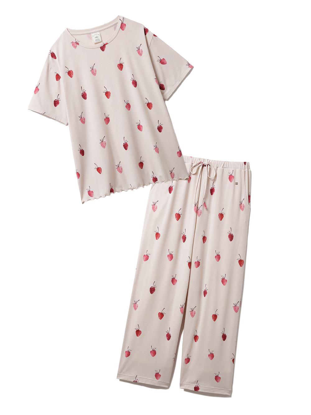 【ラッピング】ストロベリー柄Tシャツ&ロングパンツSET(BEG-F)