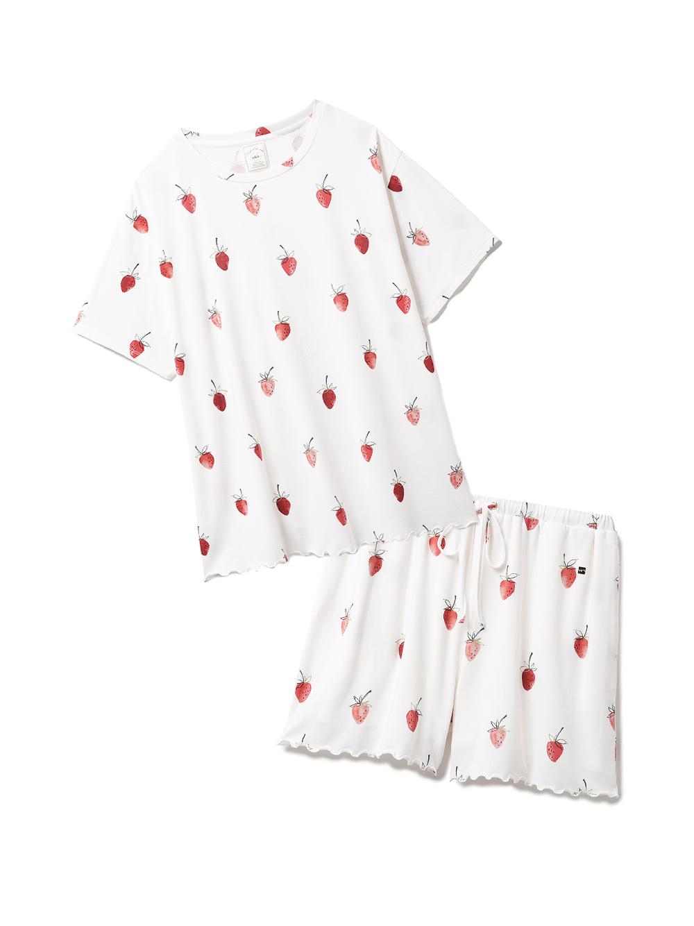 【ラッピング】ストロベリー柄Tシャツ&ショートパンツSET(OWHT-F)
