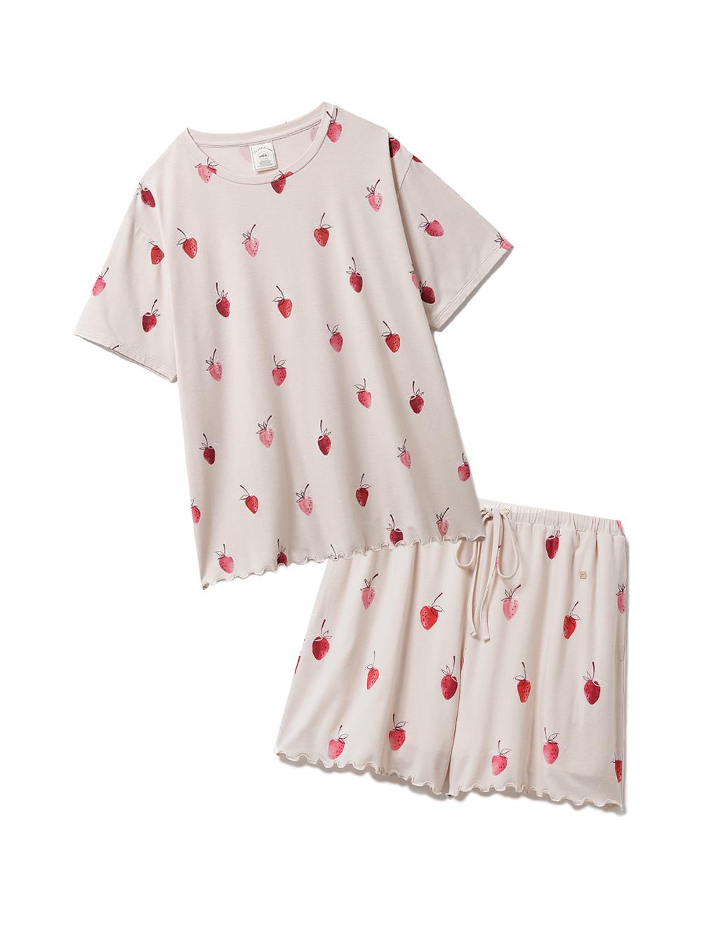 【ラッピング】ストロベリー柄Tシャツ&ショートパンツSET(BEG-F)