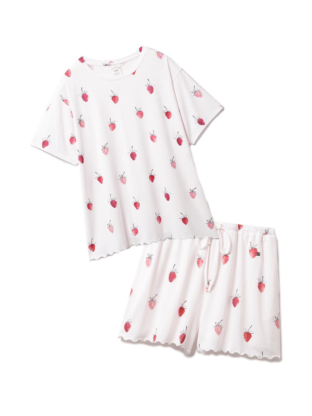 【ラッピング】ストロベリー柄Tシャツ&ショートパンツSET(PNK-F)