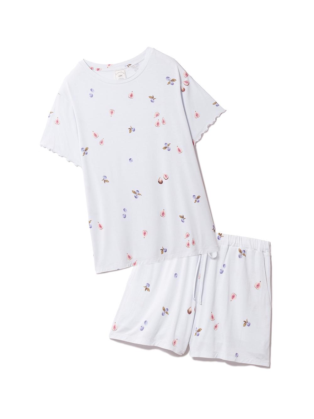 【ラッピング】フルーツ3柄Tシャツ&ショートパンツSET(BLU-F)