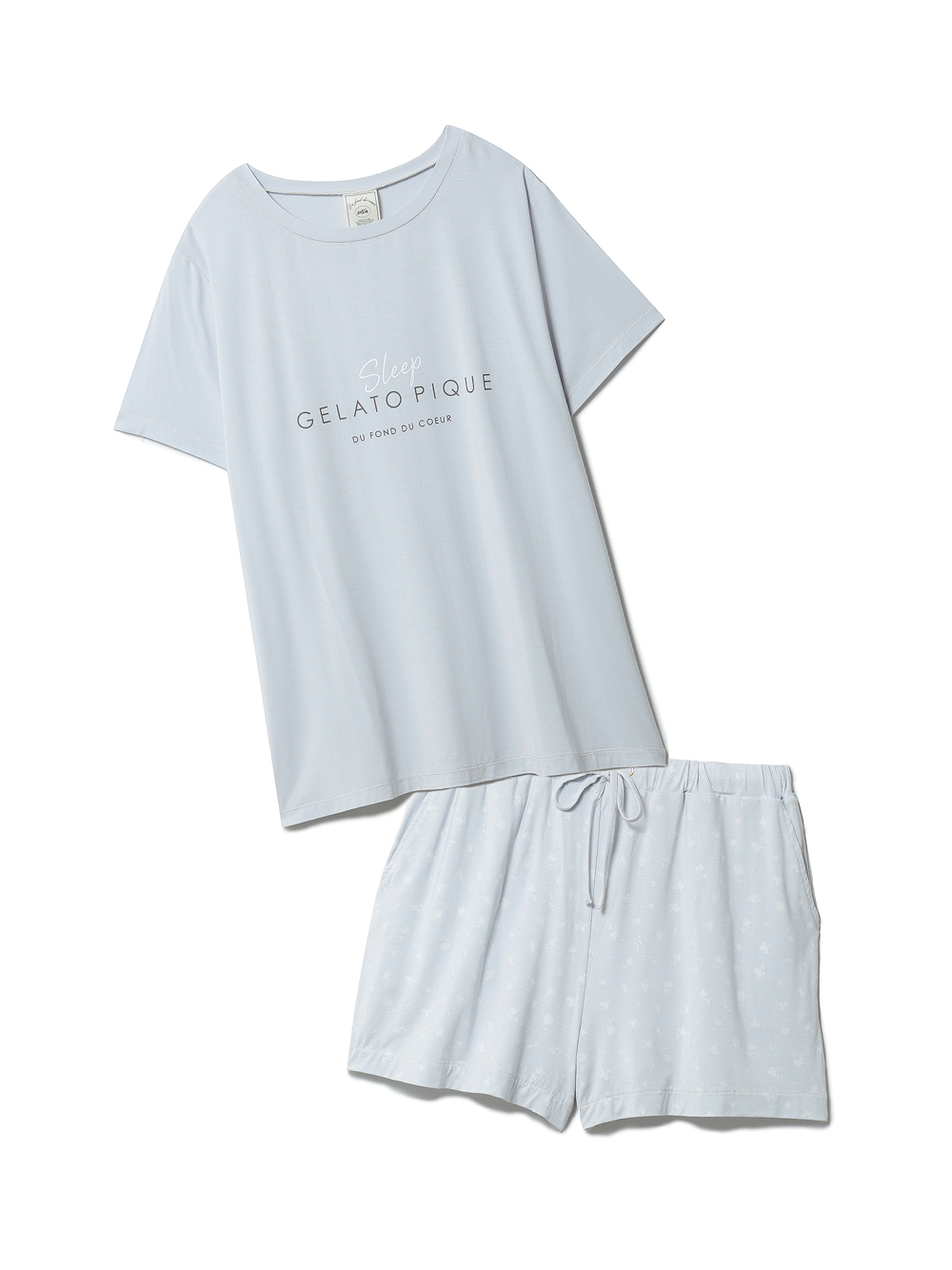 【ラッピング】カラーワンポイントTシャツ&ショートパンツSET(BLU-F)