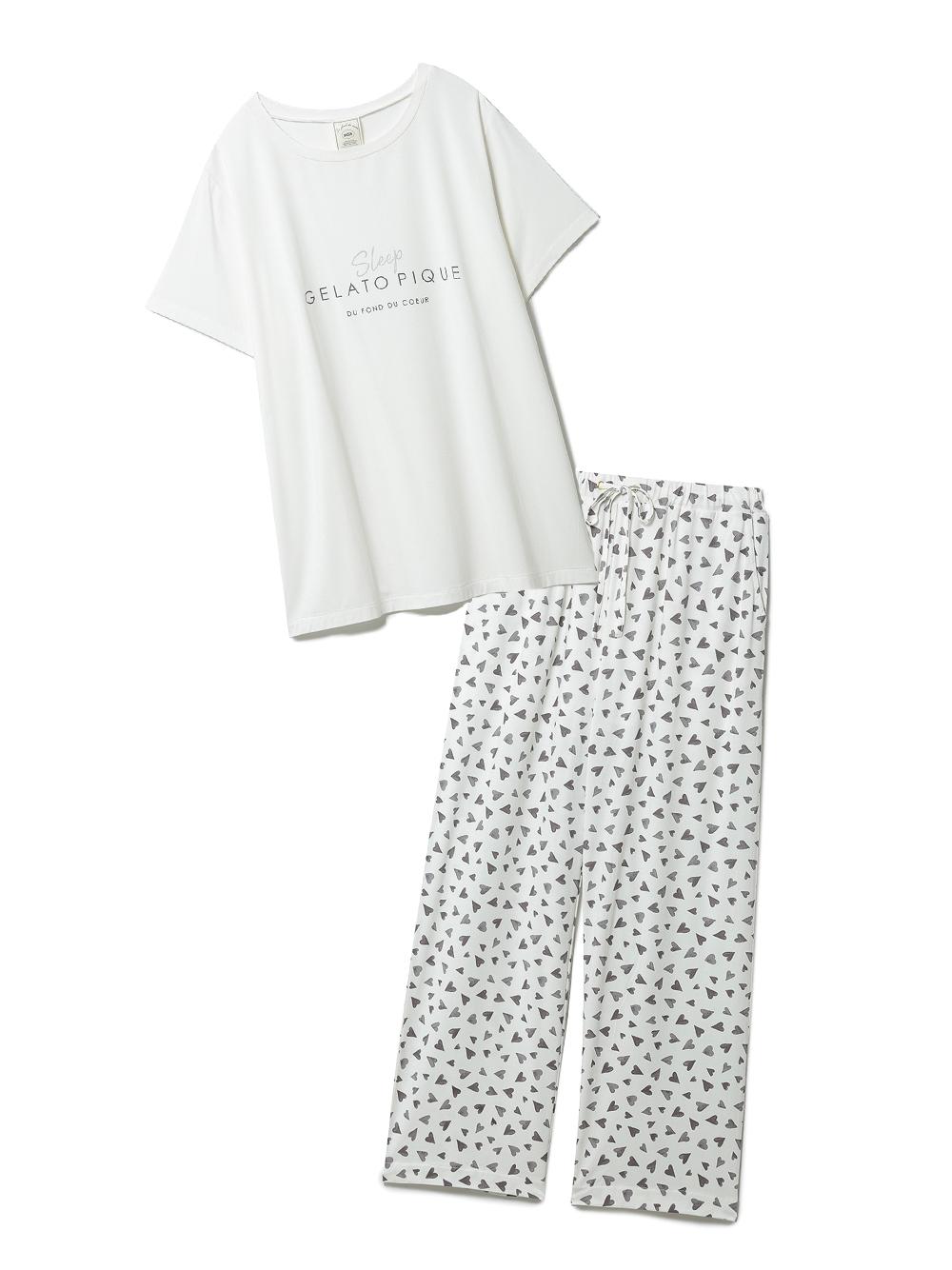 【ラッピング】カラーワンポイントTシャツ&ロングパンツSET(OWHT-F)