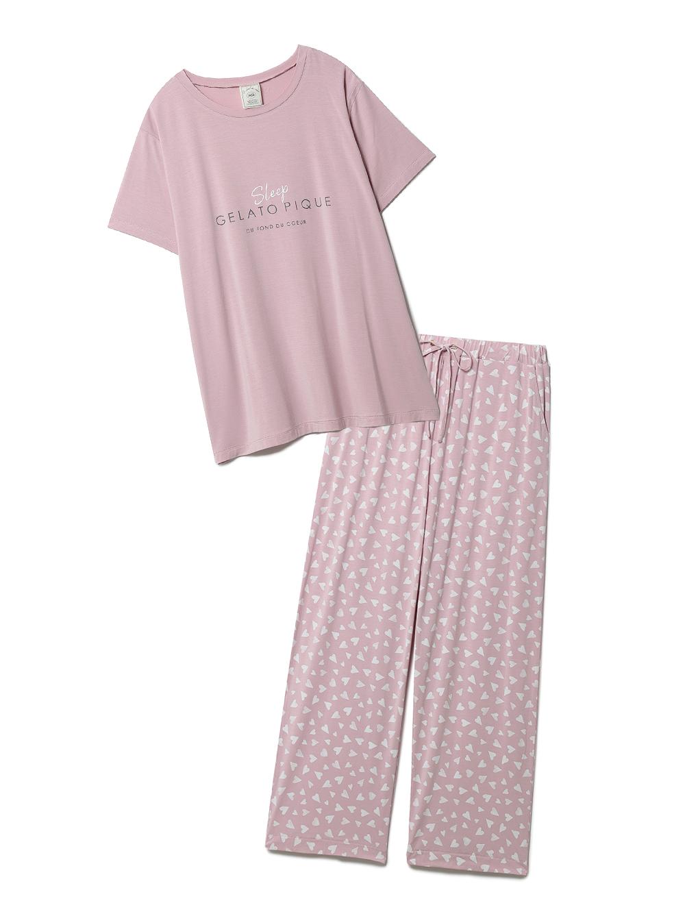【ラッピング】カラーワンポイントTシャツ&ロングパンツSET(PNK-F)