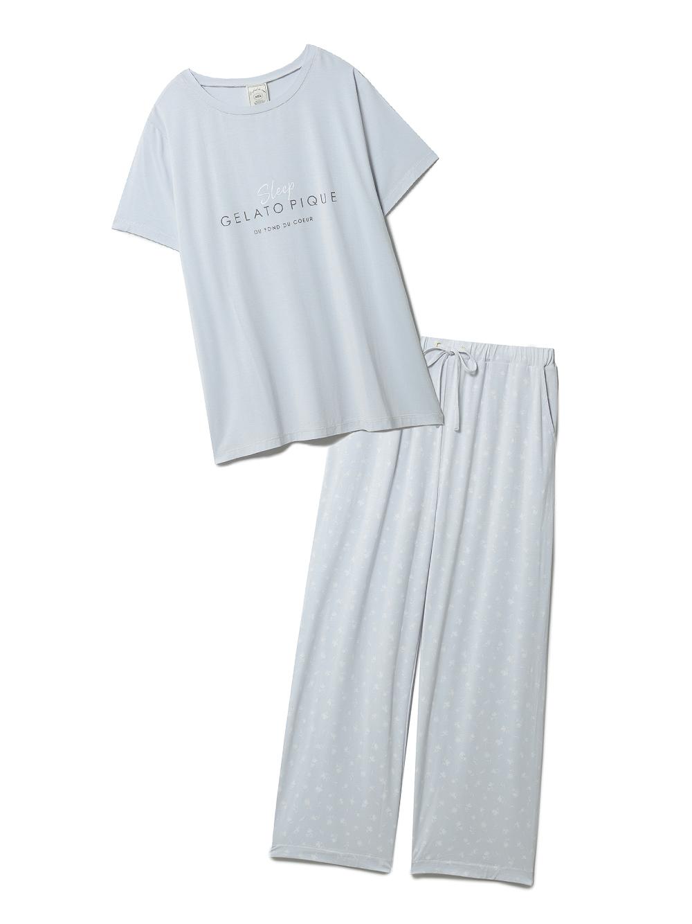 【ラッピング】カラーワンポイントTシャツ&ロングパンツSET(BLU-F)