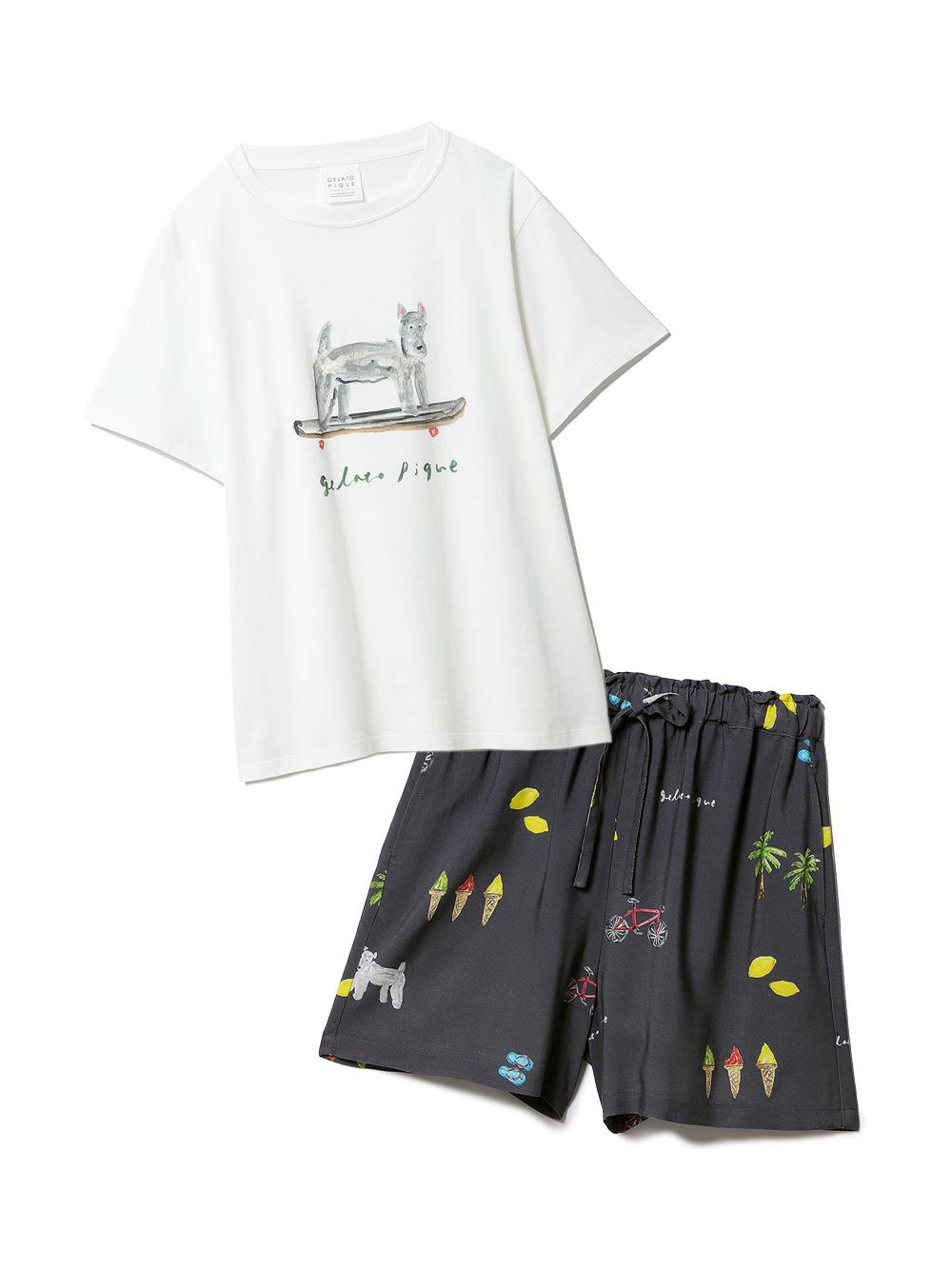 【ラッピング】サマーモチーフ柄Tシャツ&ショートパンツSET
