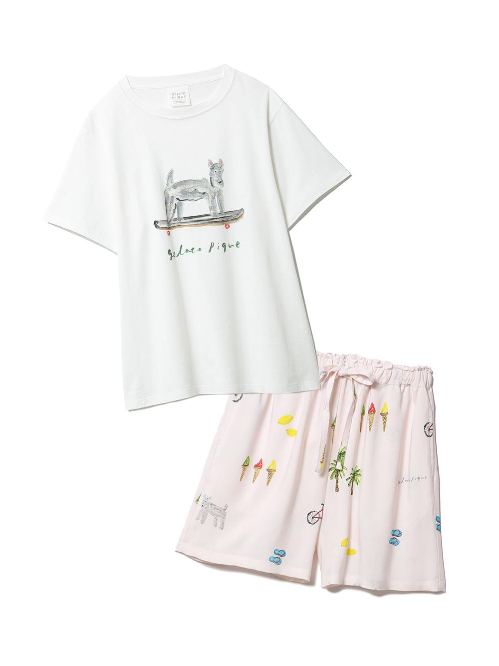 【ラッピング】サマーモチーフ柄Tシャツ&ショートパンツSET(PNK-F)