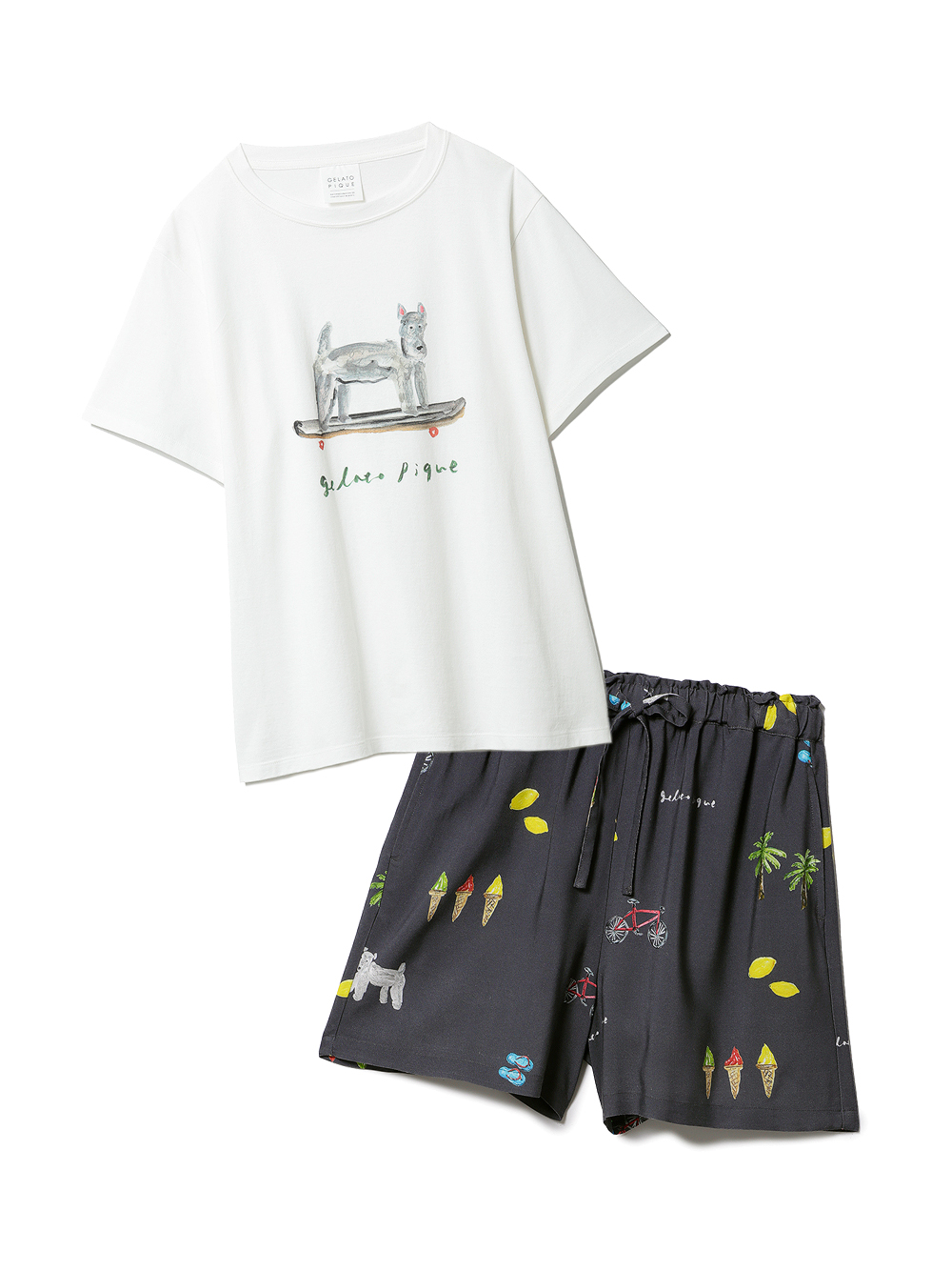 【ラッピング】サマーモチーフ柄Tシャツ&ショートパンツSET(NVY-F)