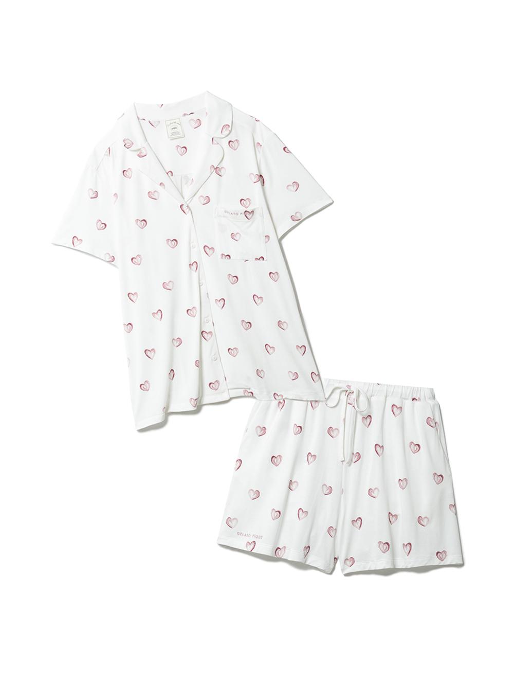 【ラッピング】ハート柄半袖シャツ&ショートパンツSET