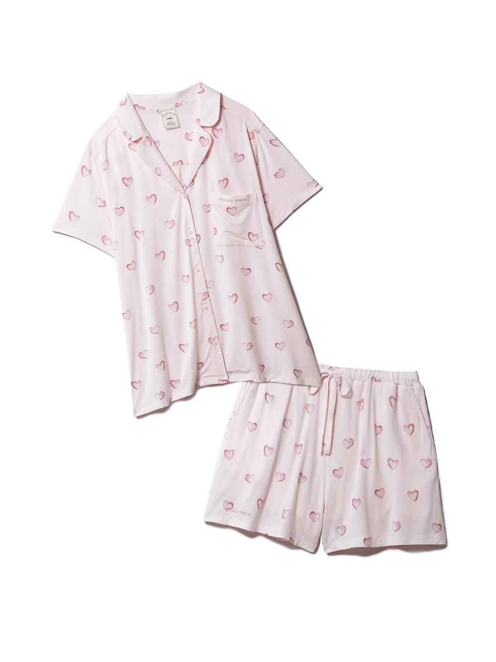 【ラッピング】ハート柄半袖シャツ&ショートパンツSET(PNK-F)