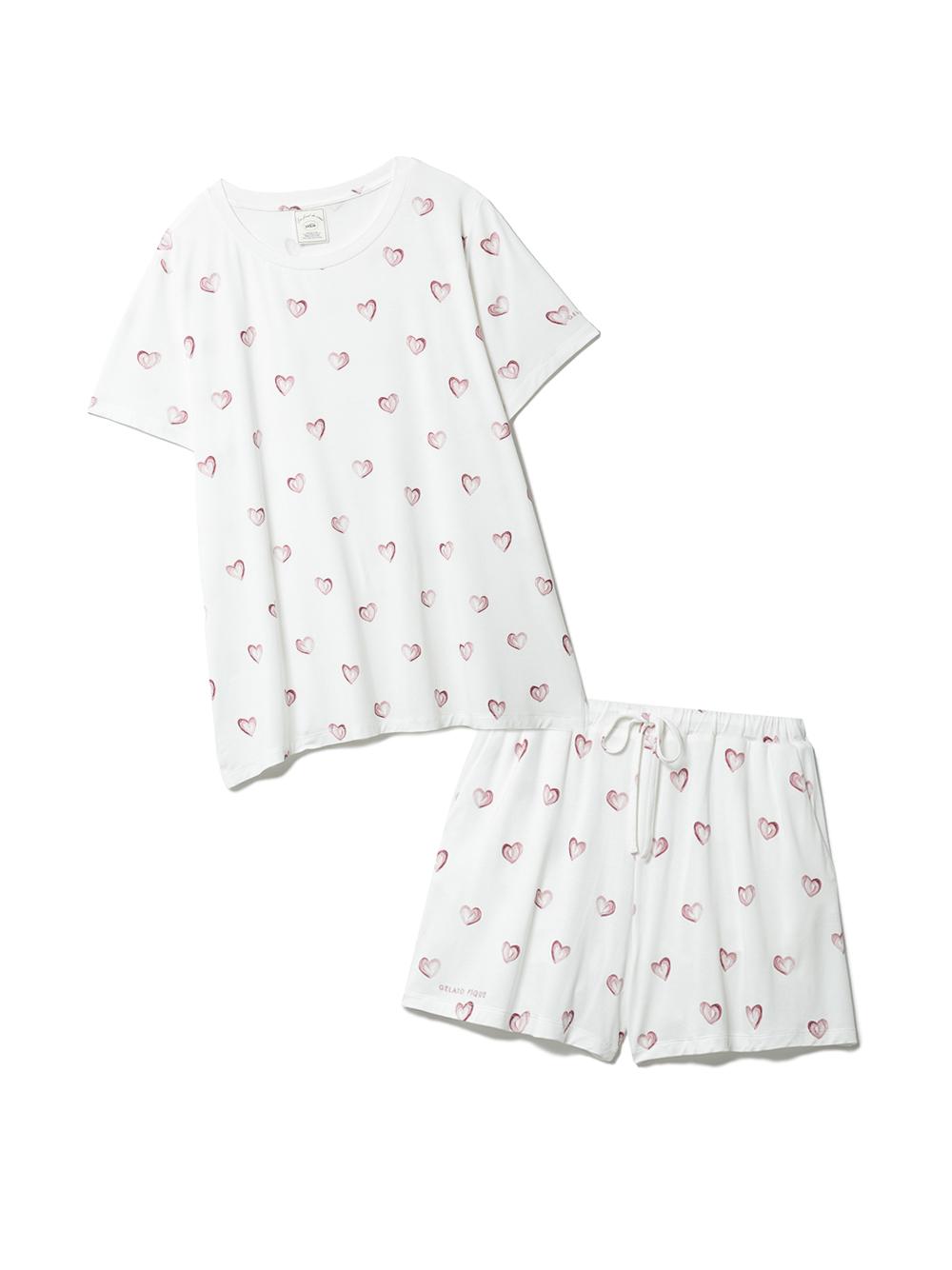 【ラッピング】ハート柄Tシャツ&ショートパンツSET(OWHT-F)