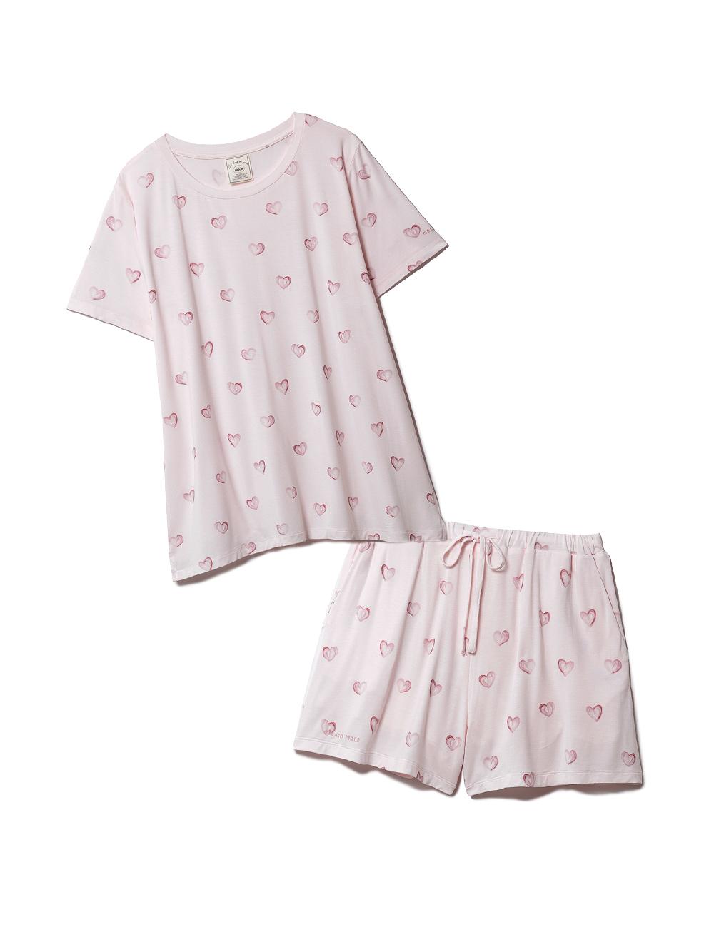 【ラッピング】ハート柄Tシャツ&ショートパンツSET(PNK-F)
