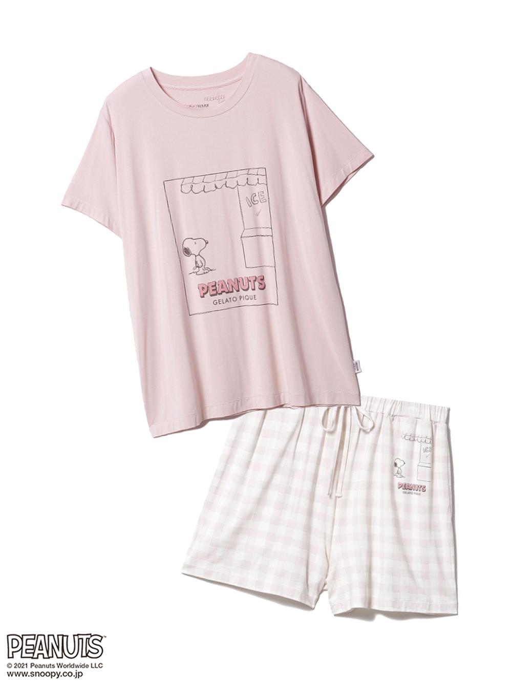【ラッピング】【PEANUTS】ワンポイントTシャツ&ショートパンツSET(PNK-F)