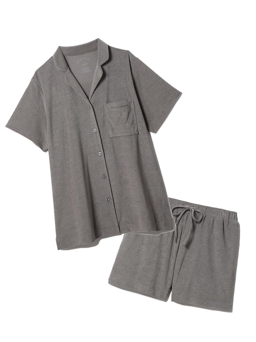 【ラッピング】パイル半袖シャツ&ショートパンツSET(GRY-F)